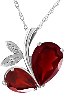 Red Ruby July Birthstone 18-Inch Hamilton Gold Plated Necklace with 6mm Ruby Birthstone Beads and Crucifix Charm