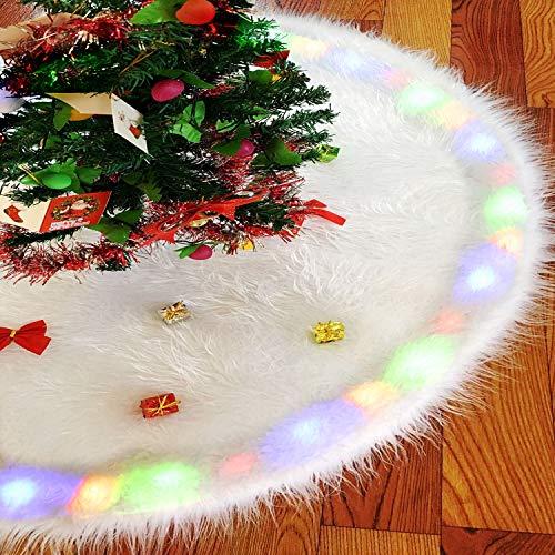 WeyTy Plüsch Weihnachtsbaumabdeckung, Weihnachtsbaumdecke 122cm/48Inches Weiße Weihnachtsbaumrock mit LED Beleuchtet, Kunstpelz Weihnachtsbaum Röcke Ornamente für Weihnachtsdekoration