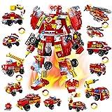 HOGOKIDS City Roboter Baukasten Konstruktionsspielzeug - 591 PCS Feuerwehrauto-Fahrzeugsatz 13 in 1 kreative STEM Pädagogisches Bausteine Spielzeug ab 6 7 8 9 10+ Jahren Jungen Geschenk