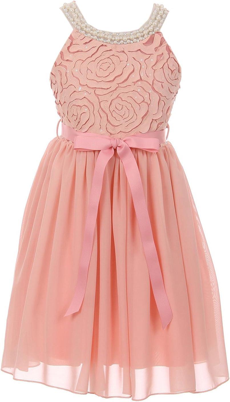 Elegant Sleeveless Lace Pearl Chiffon Birthday Party Flower Girl Dress 4-14 USA
