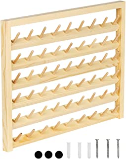 HAITRAL 54-Spool Sewing Thread Rack, Wall-Mounted Sewing Thread Holder with Hanging Hooks, Wooden Organize for Mini Sewing, Quilting, Embroidery, Jewelry(HT-BD005)