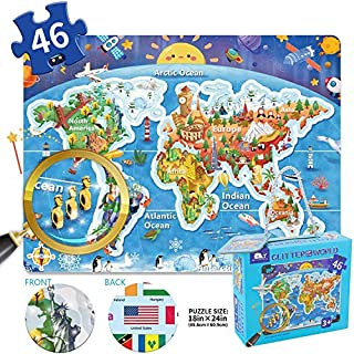 Kids Puzzle World Map Jumbo Creative Educational Toy Ages 3+ 46 pieces Flags Culture Geography Recognition Gift
