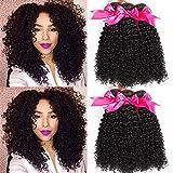 FZY 9A brasileño rizado cabello paquetes pelo humano brasileño paquetes pelo rizado brasileño 3 paquetes pelo brasileño Virgen paquetes natual negro color 300g total (10 12 14)