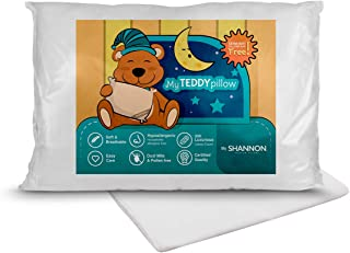 My Teddy Pillow - Kids Toddler Sleeping Plush Pillow with Pillowcase 100% Hypoallergenic Soft & Breathable 300 Count Cotton Shell 13x18 Perfect for Travel, Infant Crib, Toddler Small Bed