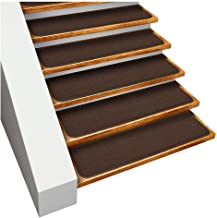 House, Home and More Set of 15 Skid-Resistant Carpet Stair Treads - Chocolate Brown - 9 Inches X 36 Inches