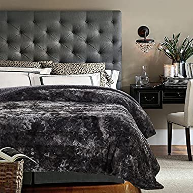 Chanasya Faux Fur Bed Throw Blanket - Super Soft Fuzzy Cozy Warm Fluffy Beautiful Color Variation Print Plush Sherpa Microfiber Gray Blanket (108  x 90 ) - KING