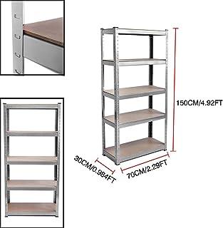 Estantería de almacenamiento para garaje de acero resistente, 5 estantes galvanizados, 150 cm x 70 cm x 30 cm, gran capacidad de 875 kg, estante sin tornillos de acero y MDF, 1 unidad