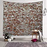 Sevendec Brick Wall Tapestry Red Stone Tapestry Wall Hanging Vintage Tapestry Polyester Print for Livingroom Bedroom Home Dorm Decor W90' x L71'