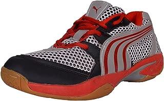 Aqua Black and Red Rubber Badminton Shoes - 10