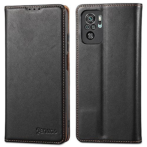 Jenuos Funda Xiaomi Redmi Note 10 4G/Note 10S, Carcasa Libro Cuero Genuino [Bloqueo RFID] con Tapa Cierre Magnético y Ranura Tarjeta Piel Cartera para Xiaomi Redmi Note 10/Note 10S-Negro(MN10-