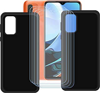 FZZ Case for Redmi Note 9 4G + 4 Pcs Tempered Glass Screen Protector Protective Film,2 Pack Slim Black Soft Gel TPU Silico...