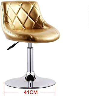 Seat Chair Embedded Solid Wood Plate 41Cm Bar Chair Chassis Bar Chair Leatherette Sponge Cushion Can Lifting 360 Swivel Chair Bar Household Restaurant Barstool 11.20 (Color : Gold)