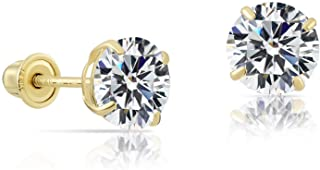 14k Yellow Gold Solitaire Round Cubic Zirconia Stud Earrings in Secure Screw-backs