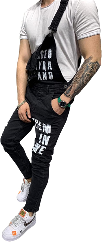 Men Ripped Jeans Jumpsuits,Vintage Distressed Denim Bib Overalls,Male Suspender Pants Long Trouser