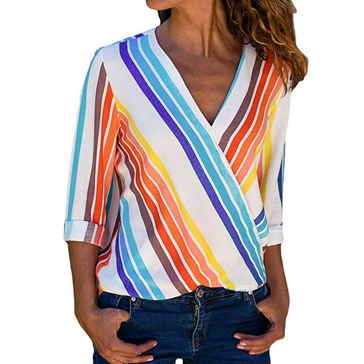 Howstar Women's Long Sleeve T-Shirt Rainbow Striped Irregular Blouse Sexy V-Neck Shrits Casual Tops