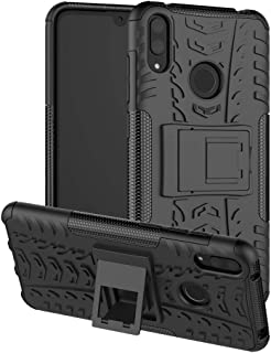 Huawei Y7 2019 Case Cover, Tyre Pattern Design Heavy Duty Tough Armor Extreme Protection Case with Kickstand Shock Absorbi...
