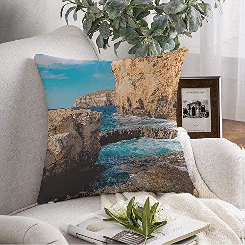 Funda de almohada cuadrada decorativa Paisaje azul Vista del atardecer Cielo de Tenerife Playa Viajes Chipre Parques naturales Europa Verano al aire libre Funda de cojín suave para dormitorio Sofá Sof