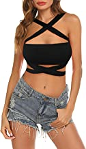 KAKALOT Women's Sexy Criss Cross Bandage Crop Tops Cut Out Active Bustier Cami