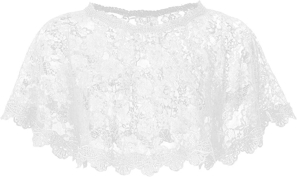 YiZYiF Women's Crochet Lace Scarfs Wedding Bridal Prom High Low Shrug Sweaters Shawl
