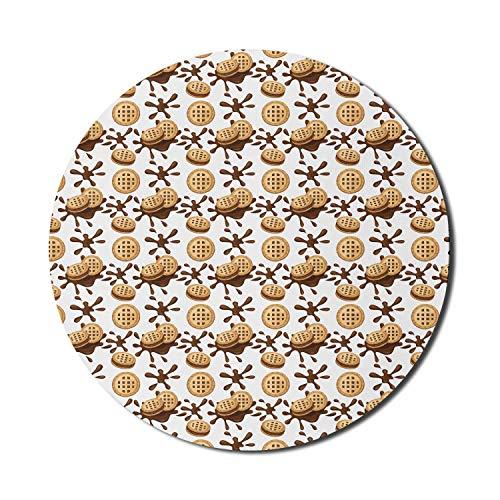 Schokoladen-Mauspad für Computer, Sandwich-Kekse Kekse mit Kakao-Creme-Grafik, rundes rutschfestes dickes Gummi-modernes Gaming-Mousepad, 8 'rund, mehrfarbig