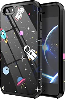 PBRO iPhone 5 Case,iPhone 5s Case,iPhone SE/SE2 Case,Cute Astronaut Case Dual Layer Soft Silicone & Hard Back Cover PC+TPU Protective Shockproof Case for Apple iPhone 5/5s/SE/SE 2 Space/Black