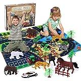 Ulikey Animali Giocattolo per Bambini, Mini Figure Animali Giungla Giocattoli Set, Animali da Foresta Figure di Plastica Animali Fattoria Educativi Giocattoli per Ragazzi Ragazze Bambini (A)