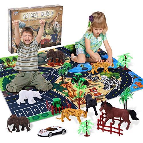 Ulikey Animali Giocattolo per Bambini, Mini Figure Animali Giungla Giocattoli Set, Animali da Foresta Figure di Plastica Animali Fattoria Educativi Giocattoli per Ragazzi Ragazze Bambini (B)