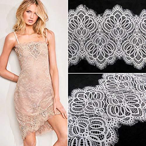 ALE13 Chantilly-Spitzenstoff, Blumenmuster, für Braut/Hochzeitskleid, mit Zierapplikationen, 300 x 23 cm, cremefarben gebrochenes weiß