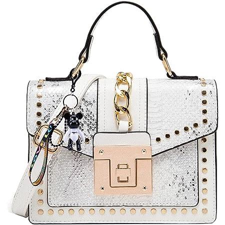 SDINAZ Damen Persönlichkeit Mode Schultertasche Handtasche Weiß