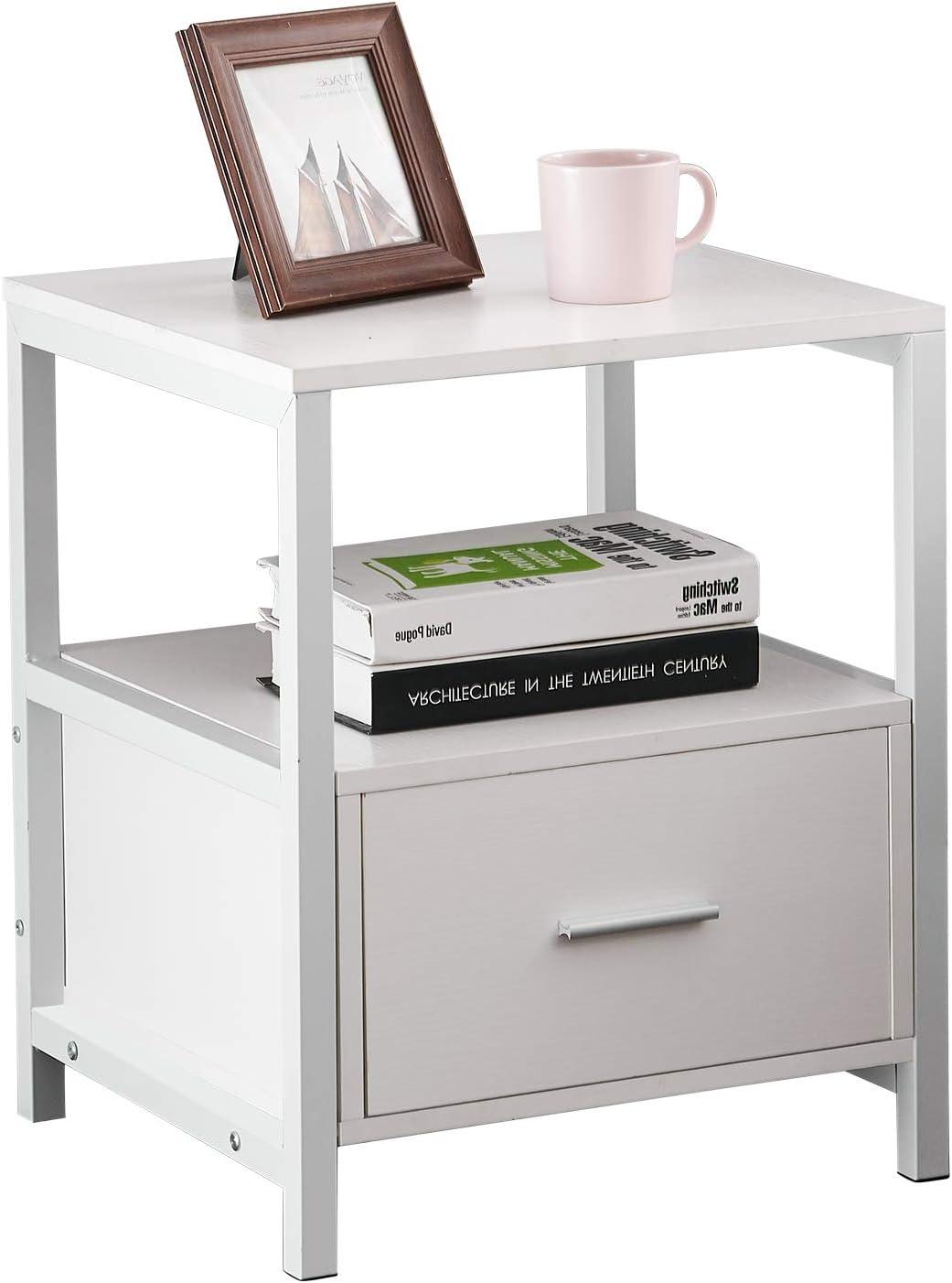 Blau VECELO Nachttisch Nachtkommode mit Schublade Ablage Beistelltisch im Industrie-Design Sofatisch Nachtschrank