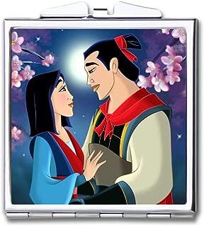 DISNEY COLLECTION Makeup Mirror for Women Girls Movie Mulan Pattern Design Light Cute Portable Delicate