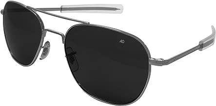 AO Eyewear Original Pilot Bayonet Aviator Sunglasses with Matte Chrome
