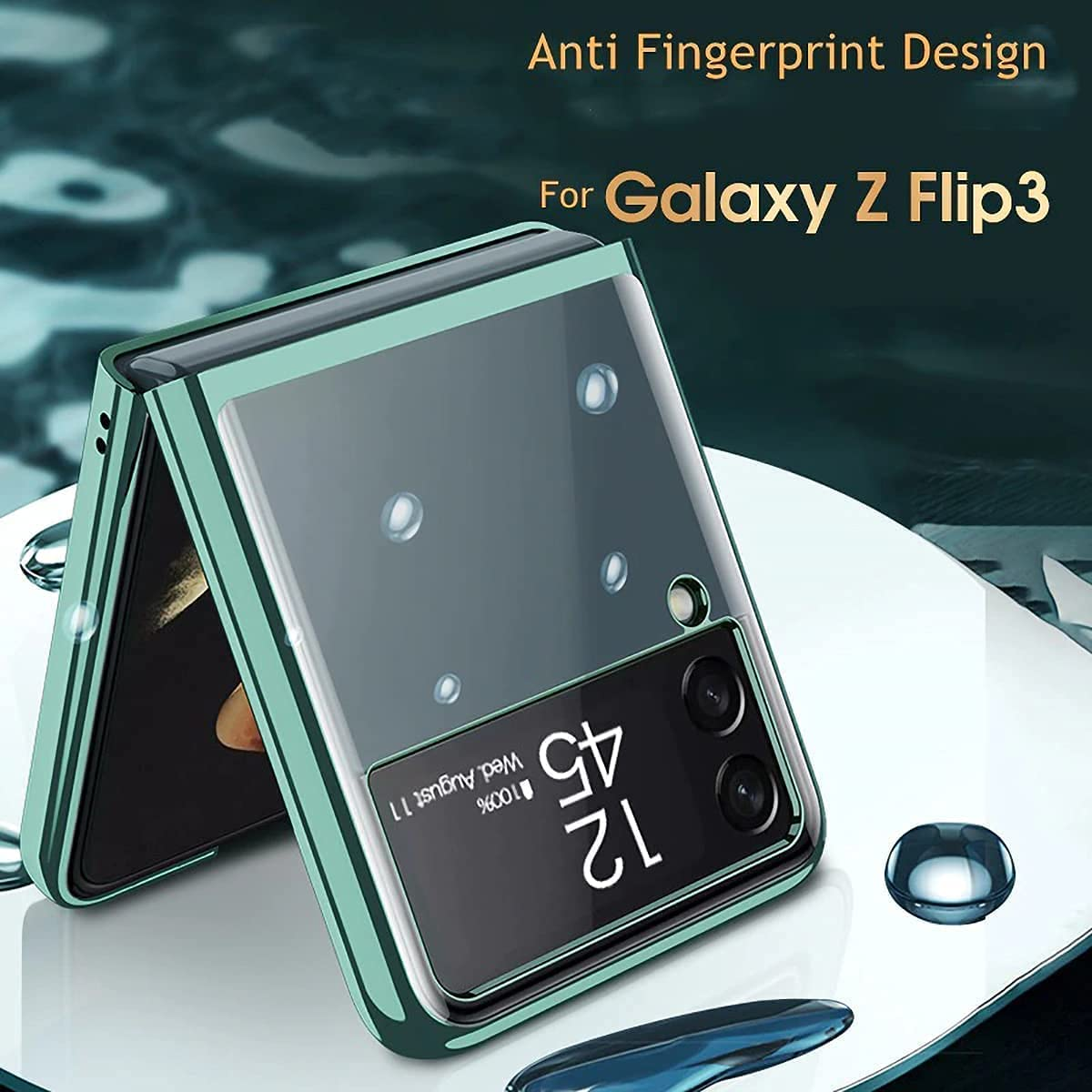 Apply to Z Flip 3 Case, Galaxy Z Flip 3 Case, Samsung Z Flip 3 Case, Clear Crystal Transparent Plating Case, Slim Case Designed, Ultra-Thin Fiber Leather Shockproof Protective Case (Clear-Green)