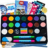 Face Paint Kit for Kids – Blue Squid 22 Colors, 160pcs, Ultimate Face Painting Kit, Stencils, Gems, Hair Chalks, Brushes, Glitter, Sponges, Booklet, Professional Body Facepaints, Halloween Makeup