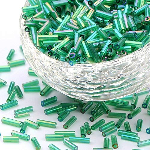 3300 unidades de cuentas de cristal de 6 mm, cuentas de cristal, tubos, varillas de varillas, Roccailles, cuentas de semillas, colores a elegir (verde transparente AB)