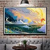 N / A Pintura sin Marco Arte Pintura al óleo Arte Tela de Seda Cartel decoración del hogar72X114cm