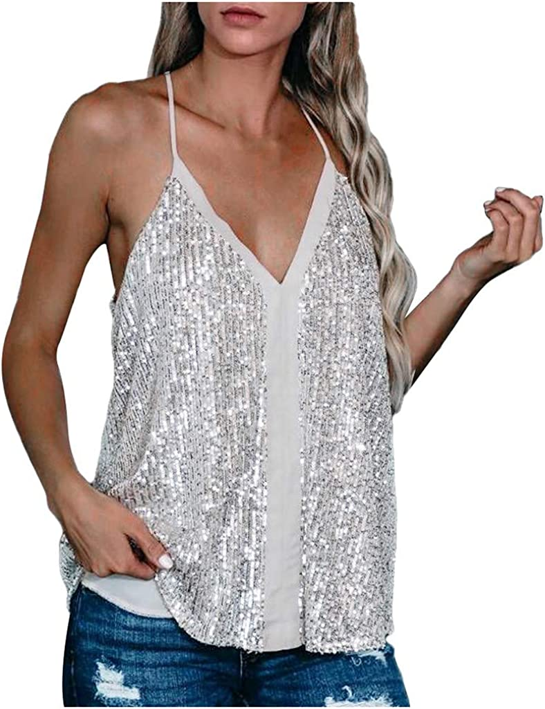 Forthery-Women Sequin Top Spaghetti Strap Tank Top Sparkle Shimmer Camisole Vest