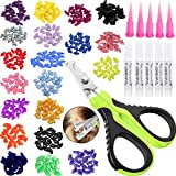 VICTHY 100pcs Cat Nail Caps with Clipper Set, Pet Cat Nail Clipper Cat Soft Claws Nail Covers for Cat Claws with Adhesive and Applicators Medium Size(5 DIFFERENT COLORS)