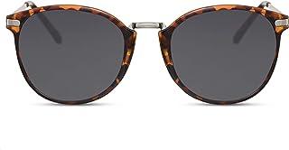 1bbf9176b9 Cheapass Gafas de Sol Negro Lentes Redondos Marrón Leo Vintage Mujer Hombre