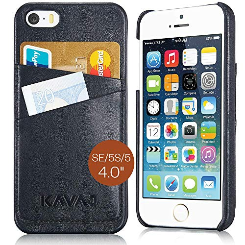 KAVAJ iPhone SE/5S/5 Case Cover Leather Tokyo Black - Genuine Leather Back Cover with Business Card Holder. Slim Fit Back Cover As Premium Accessory for The Original Apple iPhone Doubles As A Wallet