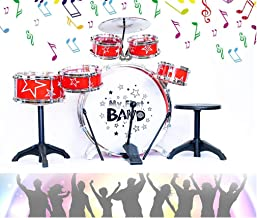 O.B Toys&Gift Jazz Drum Set for Kids , 11 Piece Musical Instrument Bass Drum Playset w/ Foot Pedal , Cymbal , Stool & Drumsticks , Toy Drum Band Kit for Kids & Toddlers (Colors May Vary)