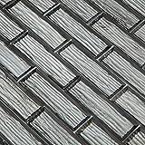 Adedeo Glass Subway Tile Bottom Beveled Edge 12 x 12 Inch for Kitchen Backsplash Bathroom Wall White Wood Grain (5-Pack, 5 sq.ft.)