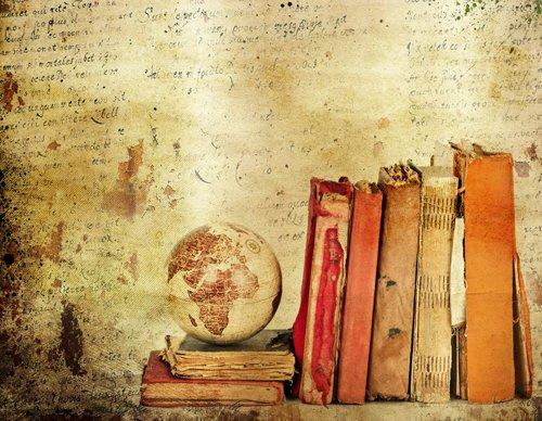 Coloc fotobehang, 150 x 220 cm, oud perkament en boeken, bedrukt, fotostudio, canvas, dun, vinylbehang, D-9635