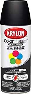 Krylon K05160202 ColorMaster Paint + Primer, Flat, Black, 12 oz.