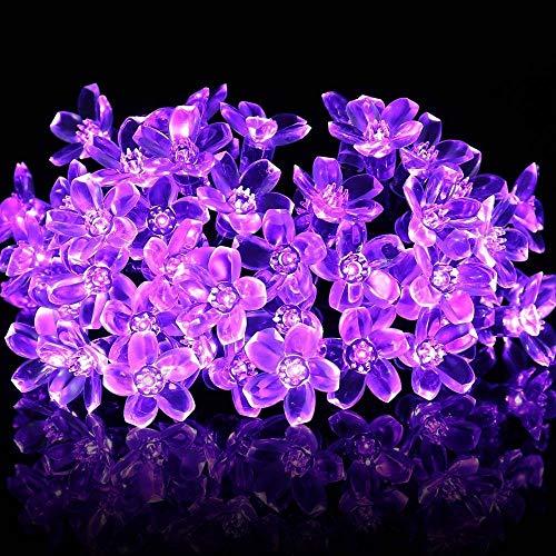 Luces de Cadena Solar, 6m 30LED Flor Solar que Enciende las Luces Solares de la Secuencia de la Flor con la Prenda Impermeable de 8 Modos (Morado)