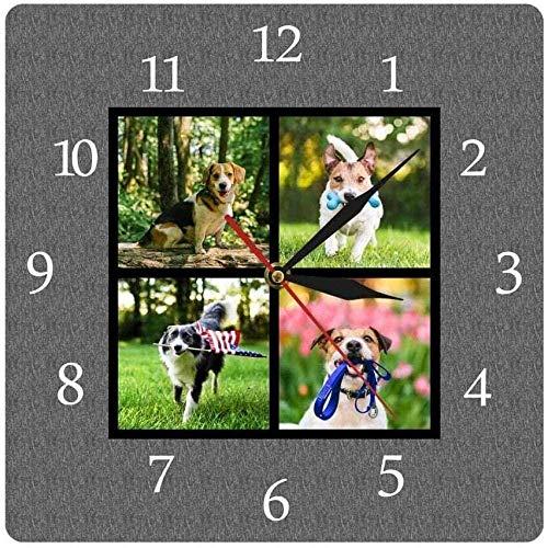 youmengying Co.,ltd Reloj De Pared Blackboard Family 4 Custom Photo Collage Square Print IC Reloj De Pared Personalizado Puppy Pet Picture Mesa Colgante De Pared 30X30Cm