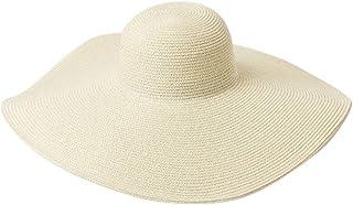 Women Ladies Vintage Wide Boater Straw Hat Elegant Flat Floppy Beach Hat