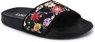KazarMax Women's Black Blossom Sliders Flip-Flops