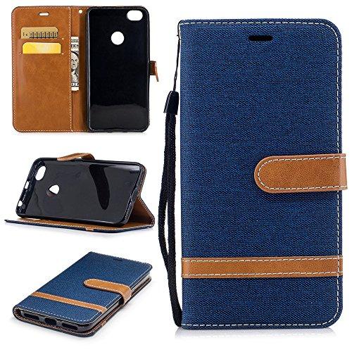 zl one Funda Xiaomi Redmi Note 5A,Bookstyle Denim PU Cuero Cartera para TPU Silicone Case Cover (Azul Oscuro)
