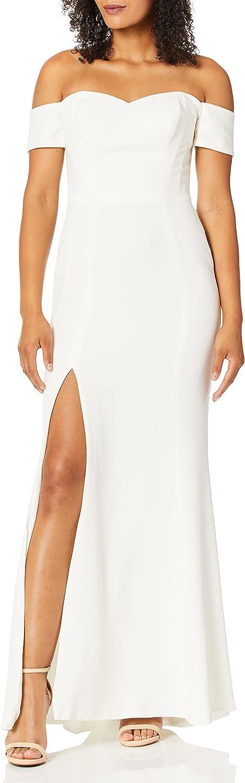 Dress the Population Women's Logan Off Shoulder Sweetheart Bodycon Long Gown Dress w Slit, Off White, XS